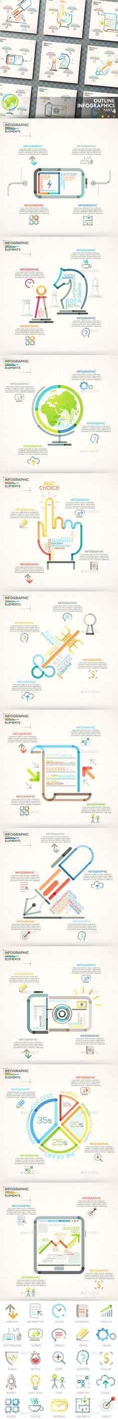 Set Of 8 Paper Infographic Templates Set of, Ai illustrator and