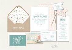 VINTAGE BEACH WEDDING Invitations - Sea Green & Blush Pink