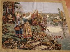 122 cm Vintage Museum Grade Needlepoint Tapestry Gathering Flowers Work OF Art…