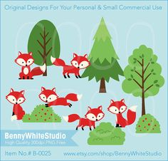 Fox in Forest Clip Art. For Personal and Small Commercial Use. B-0025