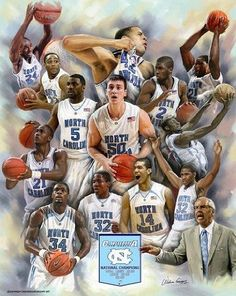 """""""Roy's Boys"""" by Wishum Gregory. Great poster that features players from Roy Williams tenure as head coach for the UNC Tarheel Basketball team."""