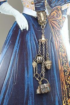 Authentic-Antique-Victorian-CHATELAINE-for-French-Fashion-Doll-ROSE-GOLD-FILLED