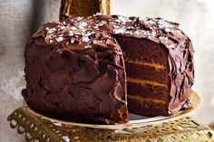 Layered chocolate and salted caramel cake main image