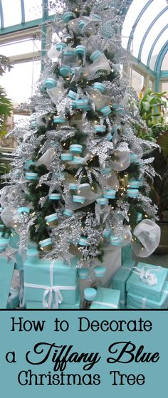 Just the sight of a blue Tiffany & Co box with a white ribbon makes people happy.   Why not share your happiness by decorating your Christmas tree this year in a Tiffany blue theme?   Here are some design ideas for how to decorate a Tiffany blue Christmas tree.