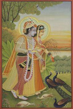 Radha Krishna - V – Artisera Radha Krishna Love, Shree Krishna, Lord Krishna, Krishna Leela, Peacock Painting, Cow Painting, Silk Painting, Pichwai Paintings, Mughal Paintings