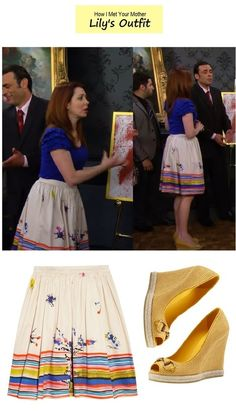 How I Met Your Mother - Lily's floral & striped skirt and yellow wedges