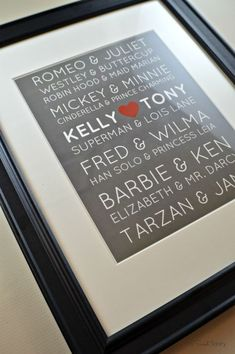 Wedding Gifts For Parrents How to make a Great Loves Print - My Sweet Sanity Diy Wedding Gifts, Wedding Anniversary Gifts, Craft Wedding, Anniversary Ideas, Creative Wedding Gifts, Wedding Tips, Craft Gifts, Diy Gifts, Partys