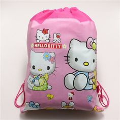 Hello Kitty Non-Woven Fabric Backpack Baby Shower Gift Bags Kids Favors Birthday Party Decoration Drawstring Supplies 34*27cm