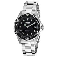 Silver-tone stainless steel case with a silver-tone stainless steel bracelet. Uni-directional rotating silver-tone stainless steel with a black top ring bezel. Black dial with luminous silver-tone hands and dot hour markers. Modern Watches, Cool Watches, Rolex Watches, Watches For Men, Stainless Steel Watch, Stainless Steel Bracelet, Invicta Automatic Watches, Watch Sale, Gold Watch