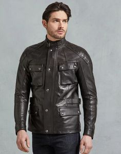 Shop the Turner Jacket from Belstaff. Crafted from heritage, this jacket features a classic four-pocket style, with press-stud closures and signature tilted map pocket. Belstaff Leather Jacket, Cafe Racer Leather Jacket, Belstaff Jackets, Leather Jackets, Classic Motorcycle Helmet, Motorcycle Style, Motorcycle Outfit, Motorcycle Jackets, Plus Clothing