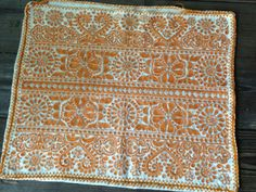 Mid Century Orange Linen Pillow Case IW  Bright and colorful 1960s hand embroidered and hand sewn pillow case or pillow cover. Orange thread over white linen. It is a fabulous decorative piece, handmade and absolutely beautiful! Mid century 1950s, 60s...true vintage. Has a lovely weight to it. The linen is not white but a natural linen color, the orange is striking against it.  Measures; 18.5 length, 15.5 width.  There are some loose threads at the opening (shown) and there is no closure at…