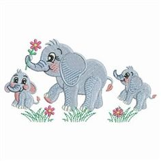 Elephant Family embroidery design from embroiderydesigns.com