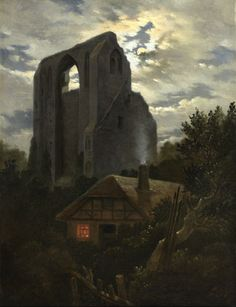 Carl Gustav Carus (1789 - 1869) - Ruins of the Eldena Monastery with cottage near Greifswald in Moonlight, 1820