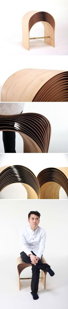 """The Hangzhou Stool - by Atelier Chen Min - consists of many layers of bamboo veneer. Each veneer is made of several ultra thin bamboo layers, aligned vertical to each other. Each veneer becomes not only very flexible but also robust. The layers give a very special """"arc"""" of the stool, just like the ripples on the water surface. When sit, the more weight the stool receives, the deeper the arc will be bent, and therefore the more elasticity the user will feel. www.chen-min.com"""