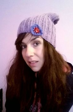 Handknitted lilac hat with small crochet by KaterinakiJewelry Lilac, Purple, Big Bows, Crochet Flowers, Winter Hats, Girly, Wool, Handmade, Crocheted Flowers