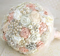 Brooch Bouquet Pearl Bouquet Bridal Bouquet in Blush and Ivory with Pearls Fabric and Brooch Bouquet