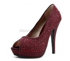 Korea Kvoll Plaid Grenadine Peep Toe Stiletto Ultra-high Platform Pumps With Glass Diamond (Free Shipping)