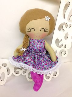 Handmade Dolls Fabric Doll Soft Dollls Cloth by SewManyPretties, $40.00