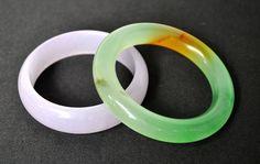 Pair of 83mm Grade Jade Bracelets Bangles - Lavendar Jade & Tricolor Green Jade