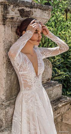 birenzweig 2018 bridal long sleeves deep v neck full embellishment romantic sexy a line wedding dress open v back royal train (12) zv -- Birenzweig 2018 Wedding Dresses