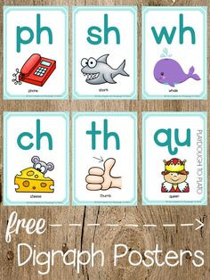 Digraph Cards and Dice 12 FREE Digraph Posters. Helpful visual for remembering tricky FREE Digraph Posters. Helpful visual for remembering tricky digraphs. Jolly Phonics, Teaching Phonics, Phonics Activities, Kindergarten Literacy, Preschool Learning, Teaching Reading, Kindergarten Posters, Emergent Literacy, Literacy Games