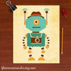1800 adorable robot nursery science robot poster boy by grammaticalart - Affiche Garcon Robot