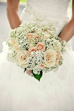 Ultra Romantic Bridal Bouquet Featuring: Champagne Roses, Peach Roses, White Gypsophila, Green Foliage