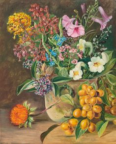 87. Group of Brazilian Forest Wild Flowers and Berries. - Marianne North - Kew Gardens Botanical Prints - Kew Botanical Prints