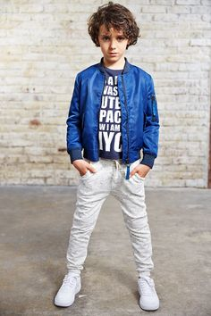 Finger in the Nose Spring Summer 2015 Buddy Univers Blue - Unisex Bomber Jacket Dalton Blue Black N.C - Graphic Tee Shirt Sprint Heather Cream - Unisex Jogging Pants Young Boys Fashion, Teen Boy Fashion, Little Boy Fashion, Outfits Niños, Style Outfits, Kids Outfits, Summer Boy, Summer 2015, Spring Summer