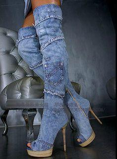 2013 free shipping new  denim sexy over knee jean high heel boots  women open toe gladiator heels knee high winter boots $126.00