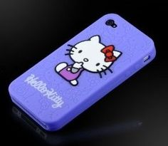 """Hello Kitty Embossed Purple """"Flexa"""" silicone case cover for Apple iPhone 4 4G 4S"""