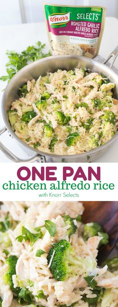 One Pan Chicken Alfredo Rice - An easy and delicio…
