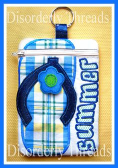 "Summer Flip Flop Zippered Bag! Large 6""x8.5""  **Pes Hus Jef Exp Vip Xxx Dst Formats** ITH In The Hoop Zippered Bag Machine Embroidery File"