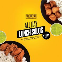 Crunch your appetite away with flavorful set of meals at Yellow Cab's ALL Day Lunch Solos available for Dine-In until Dec 2019 Food Graphic Design, Food Poster Design, Food Menu Design, Creative Poster Design, Ad Design, Web Banner Design, Web Banners, Food Banner, Yellow Foods