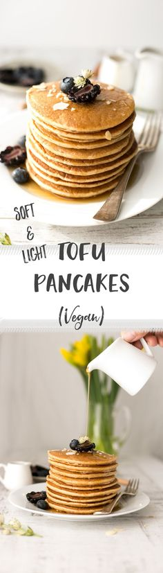Incredibly soft and light tofu pancakes with maple syrup. Vegan and gluten- free! | via @annabanana.co