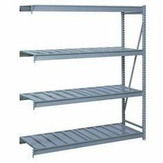 "Bulk Storage Rack Add-On, 4 Tier, Ribbed Decking, 96""Wx30""Dx96""H Gray by LYON WORKSPACE PRODUCTS. $582.00. Bulk Storage Rack Add-On, 4 Tier, Ribbed Decking, 96""Wx30""Dx96""H Gray Heavy gauge steel uprights and beams. Adjustable on 1-1/2"" centers. 1650-3300 lbs. capacity per pair of beams. Weight Capacity based on evenly distributed load. 10,000 lbs. per upright assembly."
