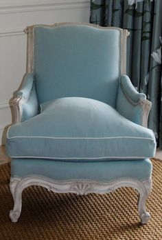 Bergére chair in pale blue