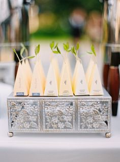 Environmentally friendly plant wedding favors: http://www.stylemepretty.com/little-black-book-blog/2016/10/10/romantic-pasadena-garden-estate-wedding/ Photography: The Great Romance - http://thegreatromancephoto.com/