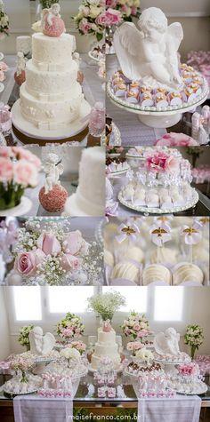 Decor, decoration, dessert, cake, flowers, angel, baptism, christening, baby girl, sweet, cute, baby doll, photography, lifestyle, photo, kids.  maisefranco.com.br
