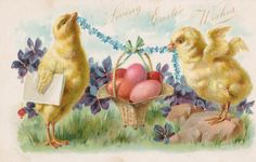 pink  vintage eggs postcards | Happy Ruby Red Tuesday!