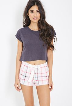 Plaid Flannel PJ Shorts - Intimates & Lounge - 2000080945 - Forever 21 UK