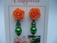 Peachy roses - Stekers met oranje bloem  van CindyrellaJewels op DaWanda.com