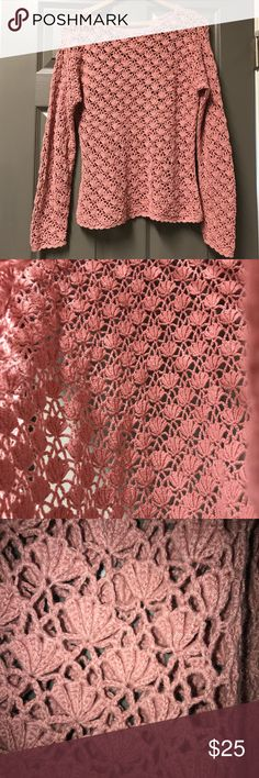 """Tarazzia Vintage Crochet Top/Sweater Size L This long sleeve cotton blend crochet top has a beautiful open design that looks like seashells (or flowers?).  Color is salmon, in my opinion, but could be considered a dusty rose.. color in photos is pretty accurate. I did wear this once or twice but it is in very good condition!!  Would be great for the Spring with a cami underneath!   • 55% Ramie    45% Cotton  • Armpit to armpit: 18"""" • Back of neck to hem: 22 1/4"""" • Sleeve: 22"""" (no defined…"""