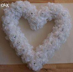 dekoracje ozdoba ozdoby ślubne wesele , białe serce z kwiatków Łódź - image 1