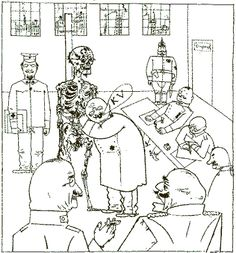 George Grosz - The Faith Healers, 1918. The Dr is saying KV,short for kriegsdientsverwendungsfahig - fit for active service