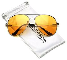 70558a3de61 Amazon.com  LARGE Classic Men s Full Rim Metal Aviator Sunglasses UV400 -  Yellow Midnight Driving Lens  Clothing