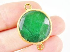 22mm Emerald Green Faceted Jade Connector Gold by LylaSupplies, $7.20