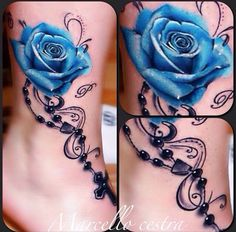 blue rose, flower tattoo, and flower image