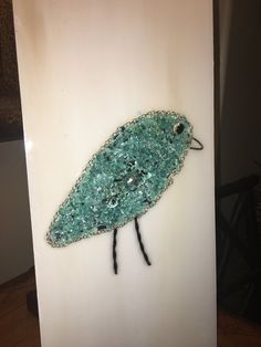 Blue bird acrylic painting  mixed media  7x18 by dlynnart on Etsy