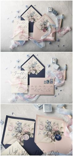 Floral wedding invitations in beautiful and delicate Pink & Navy color scheme. Modern calligraphy, envelopes liners and wax seal to choose. All fully assembled and completely customizable. Perfect for romantic and subtle bride. Design with touch of vintage style #weddings